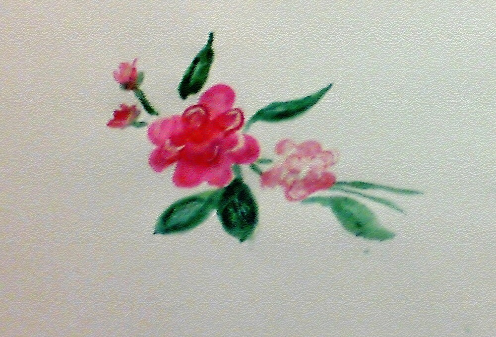 Red roses, watercolor by Anna  Lewis, blind artist