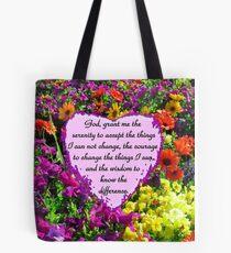 PURPLE WILD FLOWER SERENITY PRAYER PHOTO Tote Bag