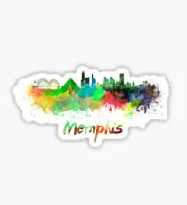 Memphis skyline in watercolor Sticker