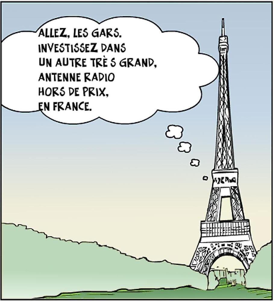 la tour eiffel en dessin comique satire by binary