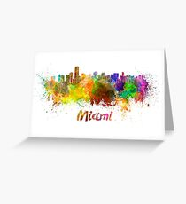 Miami skyline in watercolor Greeting Card