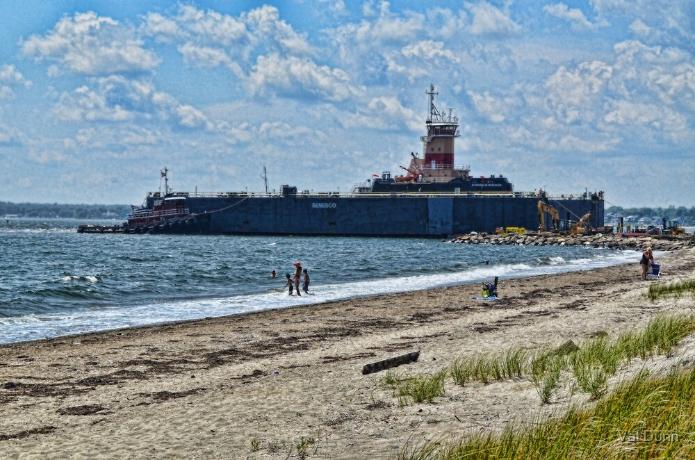 Compass Rose Beach Rhode Island by Val Dunn