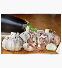 Fresh garlic on wood Poster