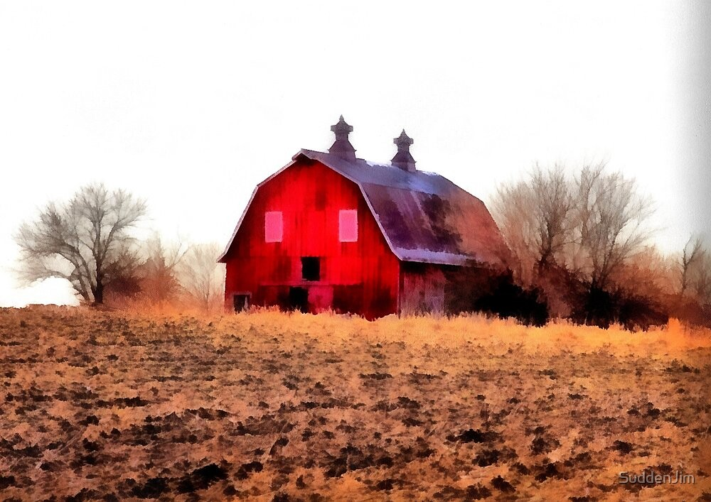 Red Barn On The Hill by SuddenJim