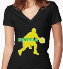 Seattle Basketball Women's Fitted V-Neck T-Shirt