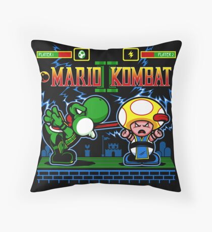 Mario Kombat II Throw Pillow