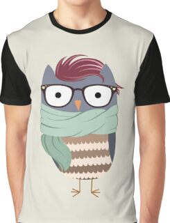 Hipster Owl Transparent Background Graphic T-Shirt