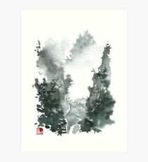 Misty Valley Traditional Chinese Landscape Art Print
