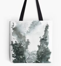 Misty Valley Traditional Chinese Landscape Tote Bag