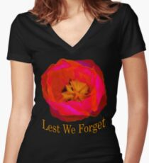 Lest We Forget, Poppy Women's Fitted V-Neck T-Shirt