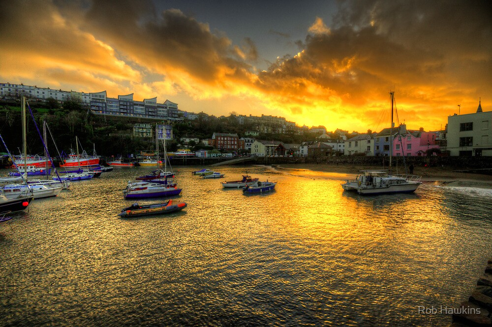 Sunset over Ilfracombe Harbour  by Rob Hawkins