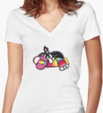 Warm Up, Little Schnauzer Women's Fitted V-Neck T-Shirt