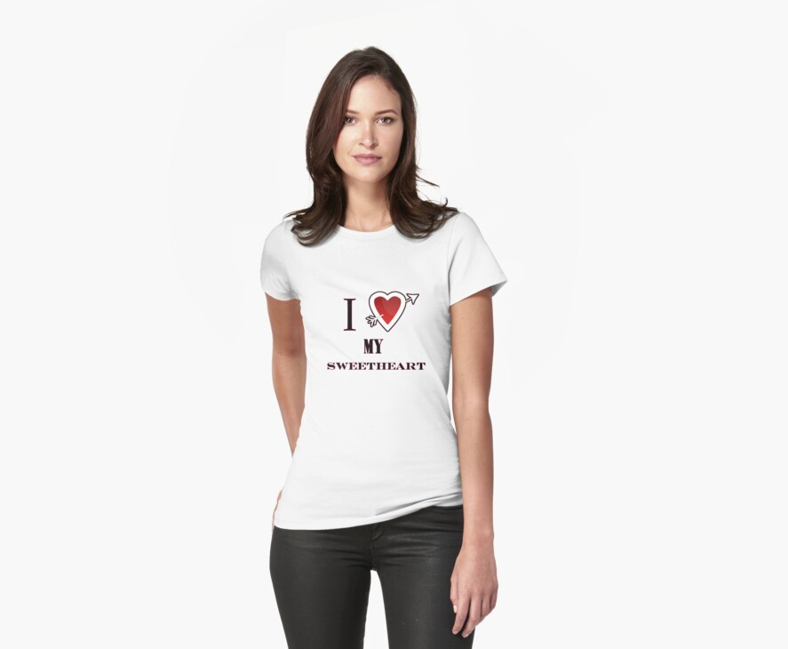 I love my Sweetheart valentines day tee  by Tia Knight