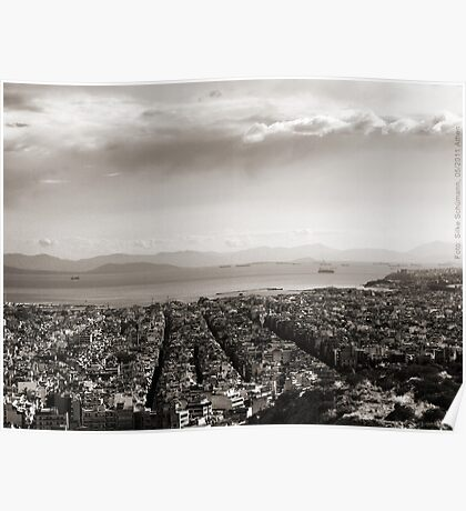 View to Athens Harbor (sepia) VRS2 Poster