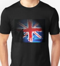 British Flag & Guitarist (black background) Unisex T-Shirt