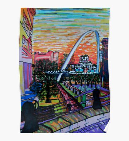 Gateshead Millennium Bridge from Newcastle Poster