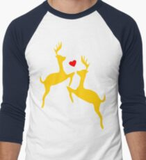 ۞»♥Adorable Jumping Deer Couple Clothing & Stickers♥«۞ Men's Baseball ¾ T-Shirt