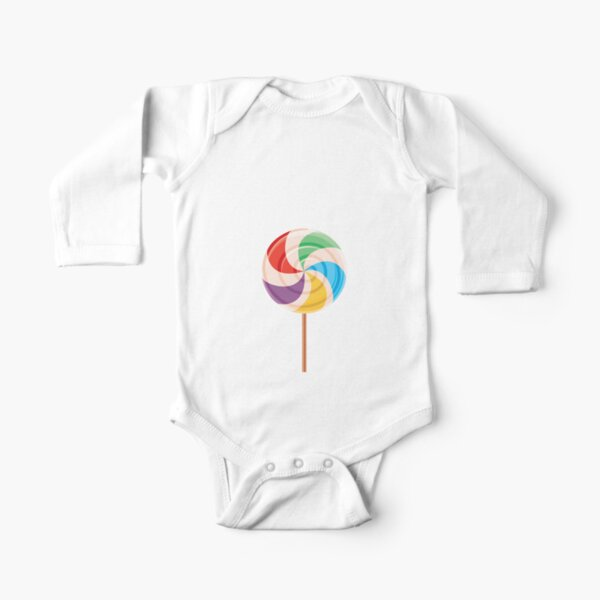 Colorful Lollypop on White Long Sleeve Baby One-Piece