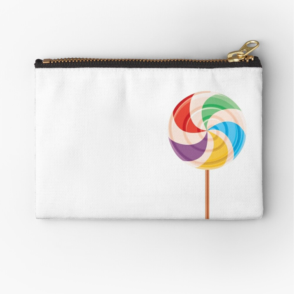 Colorful Lollypop on White Zipper Pouch