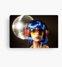 plastic headphone disco girl  Canvas Print