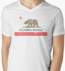 Vintage California Flag Men's V-Neck T-Shirt