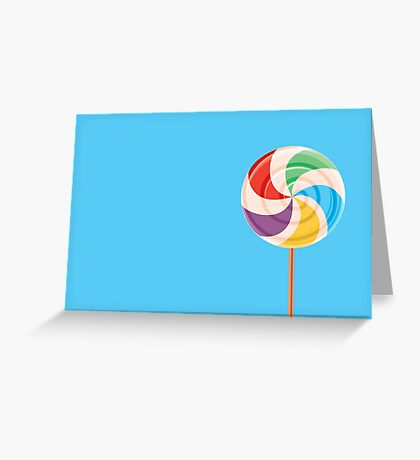 Colorful Lollypop on Blue Greeting Card