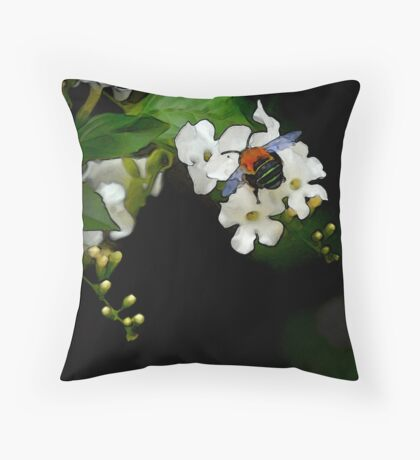 blue bee painting Throw Pillow