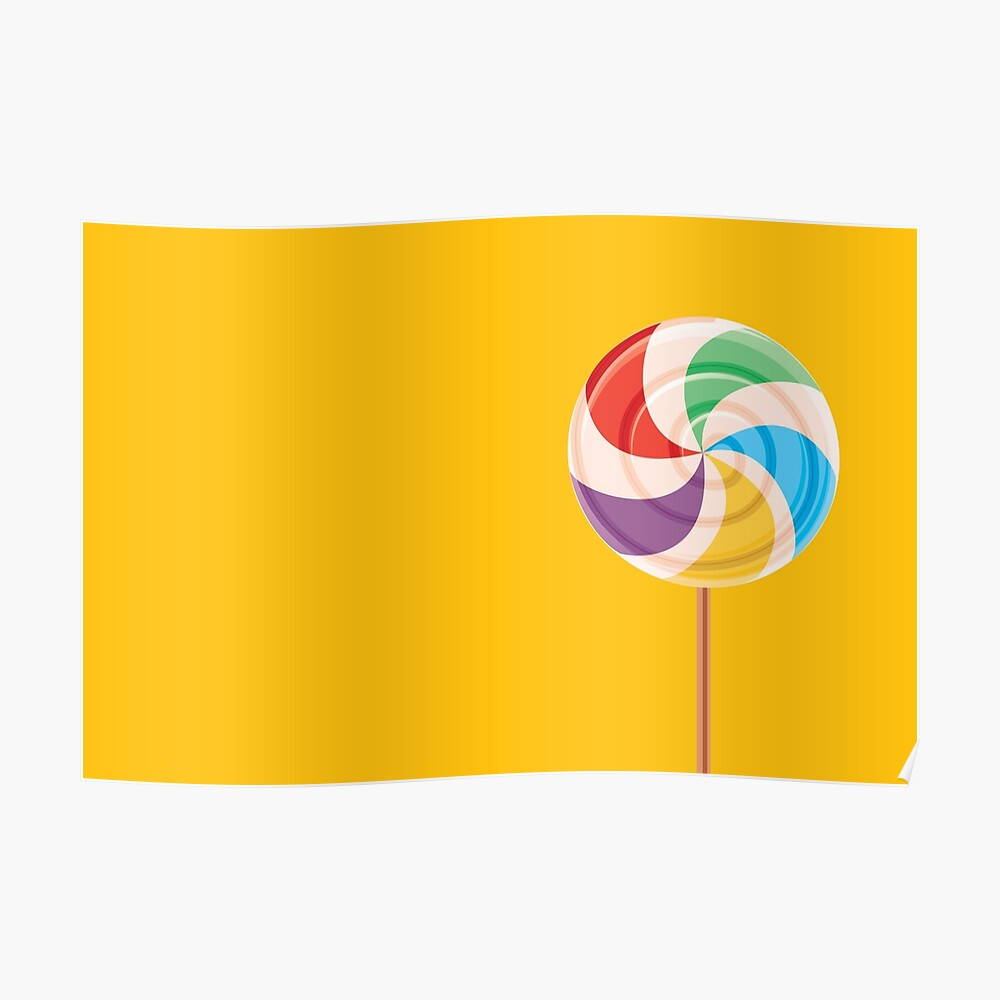 Colorful Lollypop on Yellow Poster