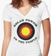 """Earth Day """"Solar Power To The People"""" Women's Fitted V-Neck T-Shirt"""
