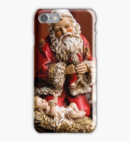 Santa Adoring the Christ Child iPhone Case/Skin