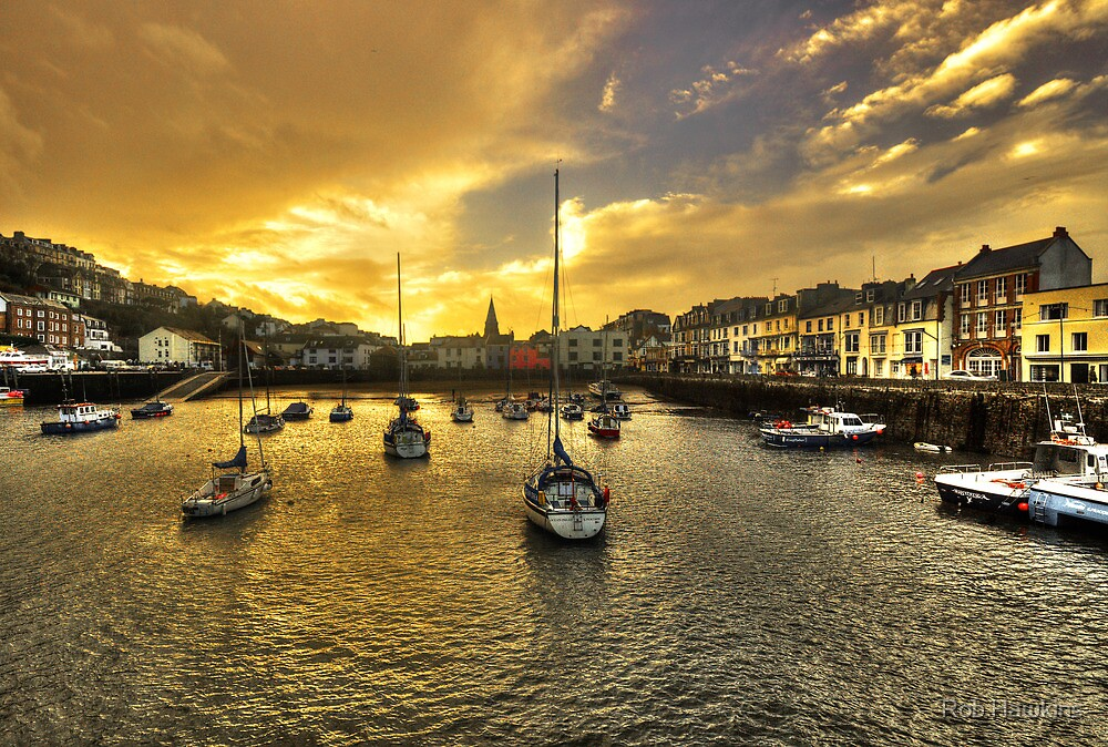 Ilfracombe Harbour at dusk  by Rob Hawkins