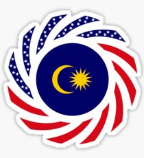 Malaysian American Multinational Patriot Flag Series Sticker