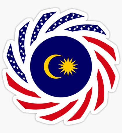 Malaysian American Multinational Patriot Flag Series Glossy Sticker