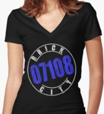 'Brick City 07108' (w) Women's Fitted V-Neck T-Shirt