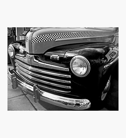 Black and White Checkered Cab Photographic Print