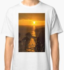 beautiful sunset over the coastal rocks with wild highl grass Classic T-Shirt
