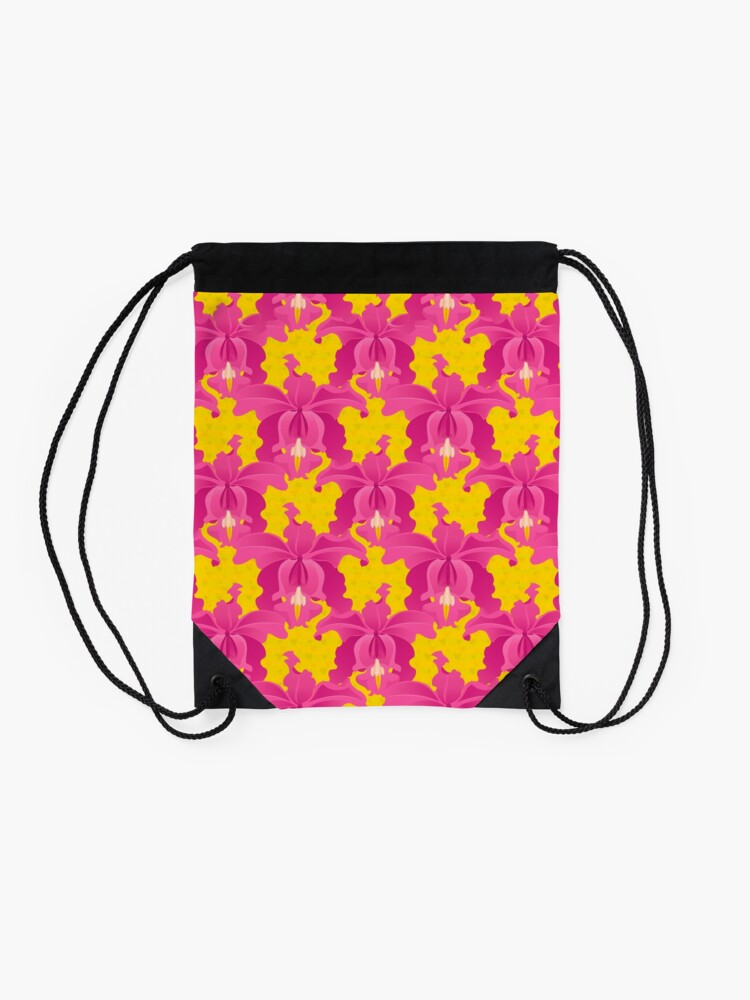 Alternate view of Pink Orchids Drawstring Bag