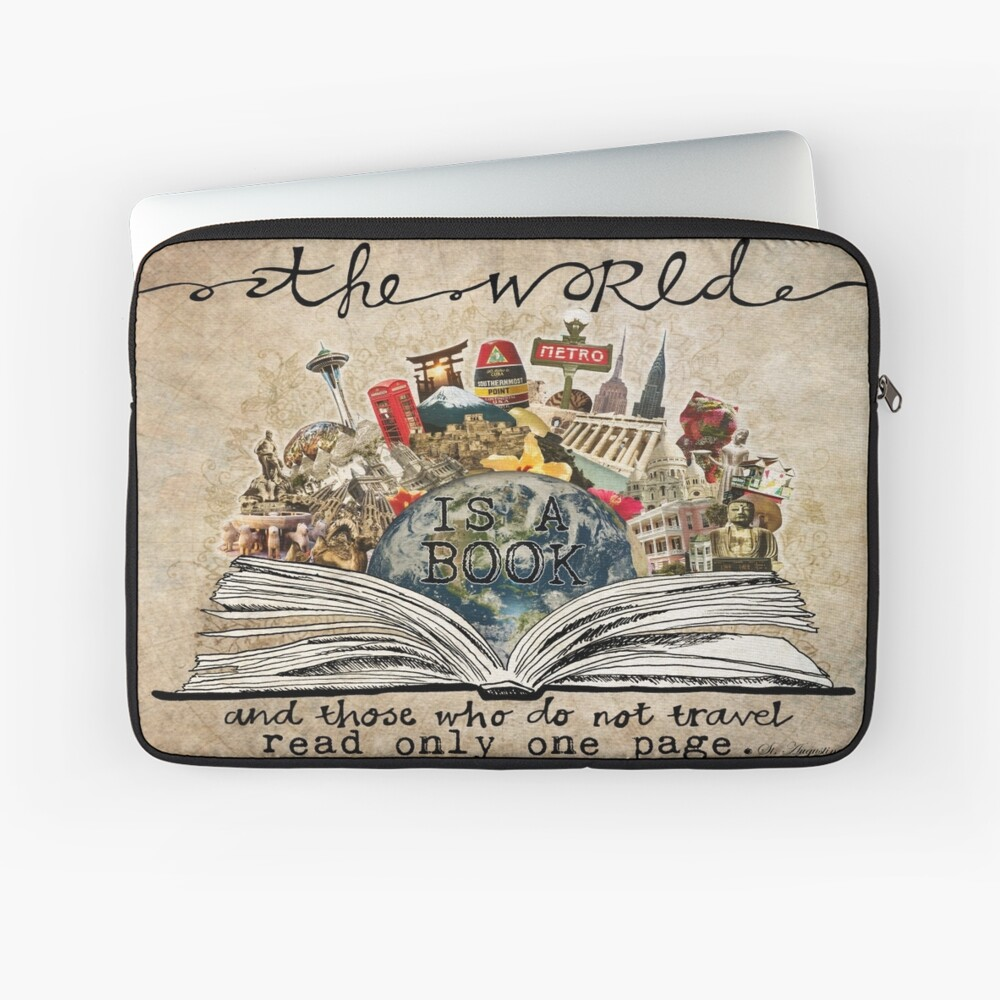 The World Is A Book Laptop Sleeve Front
