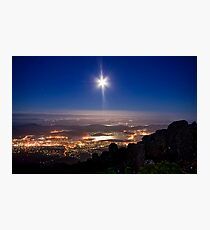 Moon Rising over Hobart Photographic Print