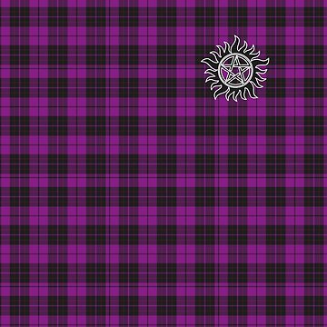 Supernatural Anti-possession symbol on PLAID in PURPLE by stormthief19