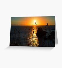 beautiful sunset over the virgin rock grass Greeting Card