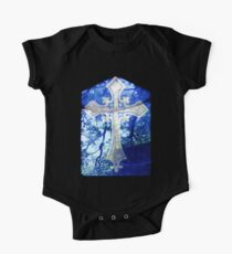 Blue Crucifix on Glass Window - Original One Piece - Short Sleeve