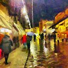 Rainy night, Ponte Vecchio, Florence, Italy by David Carton