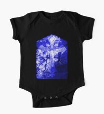 Blue Crucifix on Glass Window One Piece - Short Sleeve
