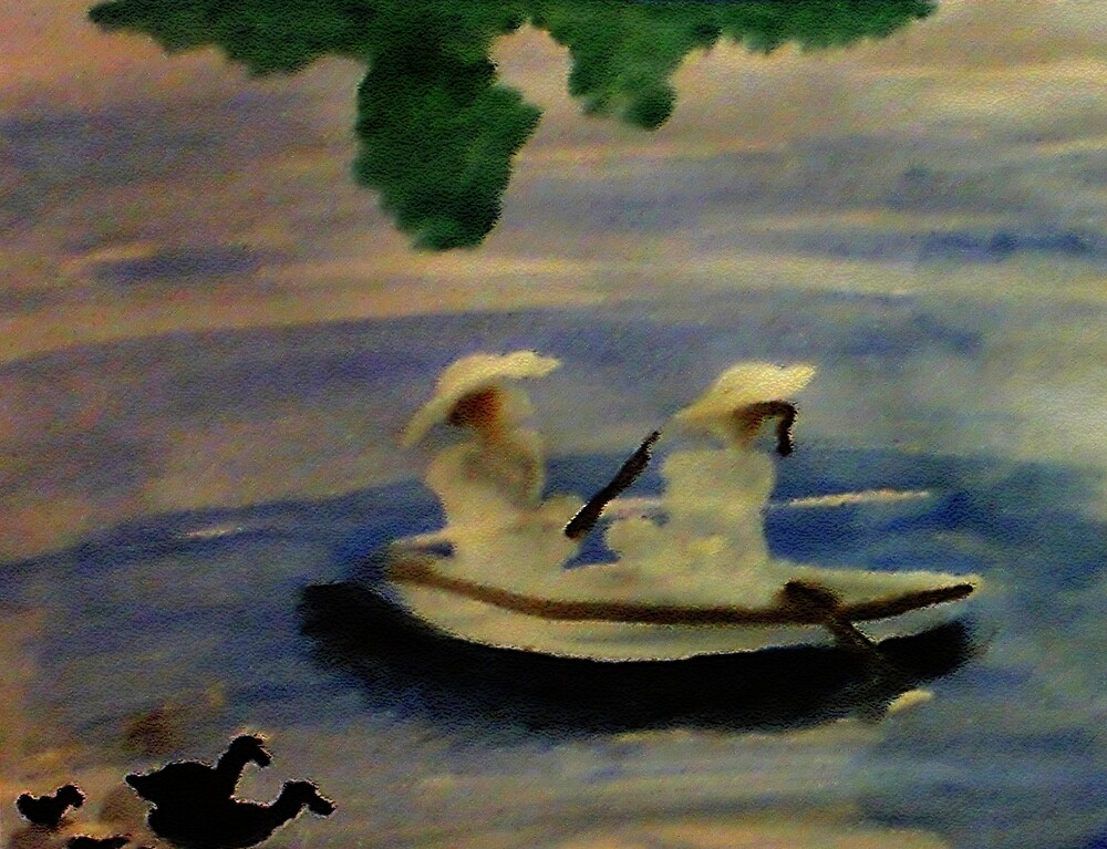 On the lake , watercolor by Anna  Lewis, blind artist