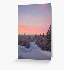 Snow Road and Lapland sunset Greeting Card