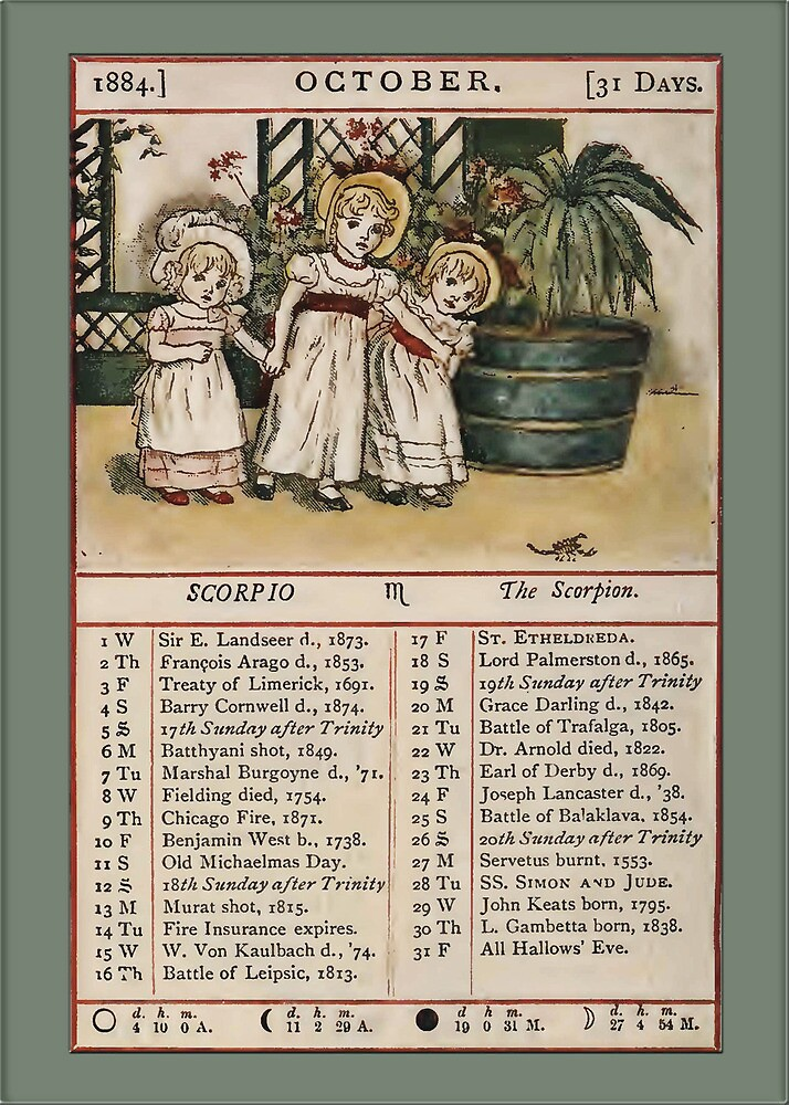 Greetings-Kate Greenaway October Almanac Page by Yesteryears