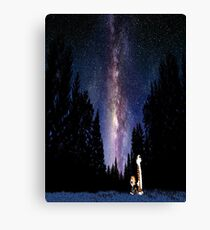 Calvin And Hobbes In The Night Canvas Print