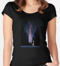 Calvin And Hobbes In The Night Women's Fitted Scoop T-Shirt