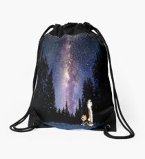 Calvin And Hobbes In The Night Drawstring Bag